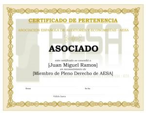 Modelo Certificado Asociado Pertenencia AESA - Persona Física