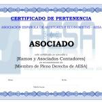 Modelo Certificado Asociado Pertenencia AESA - Persona Jurídica